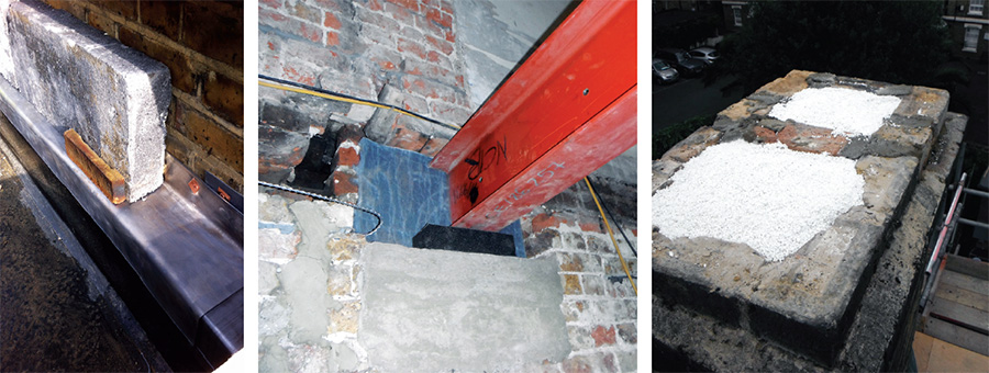 (left to right) Baumit EPS external insulation fitted to the rear brick wall; steel beams sit on Foamglas block to prevent thermal bridging; chimney pots were filled with Perlite insulation in to prevent heat loss and provide airtightness