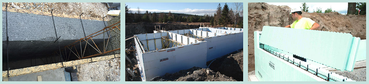 (left) Velox's unusual spin on ICF, in this case with additional platinum EPS insulation fixed to the structural wood/cement formwork; (middle) the Polycrete ICF system – in another example of ICF being used below ground level; (right) the Nudura ICF system going up like Lego.