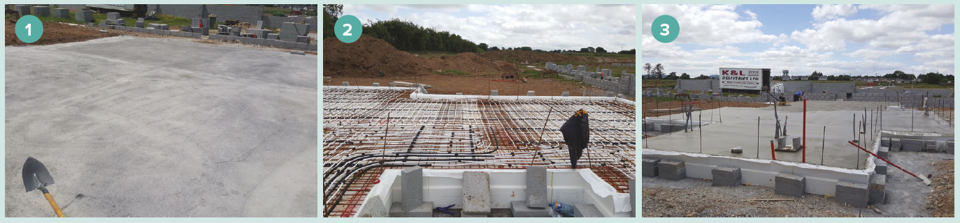 Installation of the Kore insulated foundation system showing: 1 preparatory groundworks; 2 laying of the EPS tub with underfloor heating pipes and; 3 the floor slab poured.