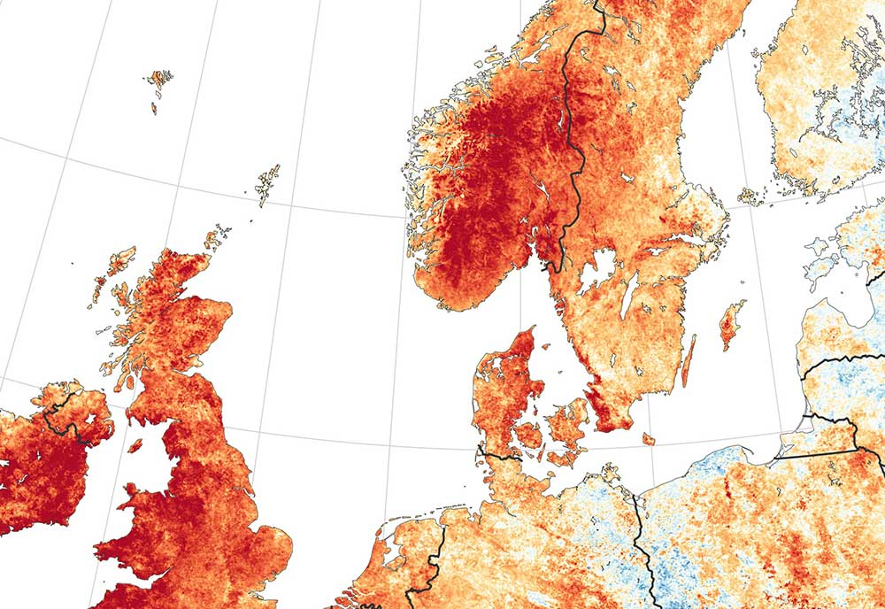 above A NASA temperature anomaly map in Northern Europe in July 2018 showing unusually hot conditions in Ireland, the UK and Scandinavia.