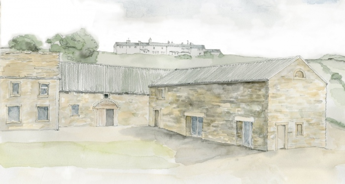Watercolour impression of Stirley Farm